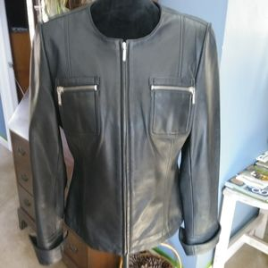Jackets & Blazers - Ladies Leather Collarless Jacket